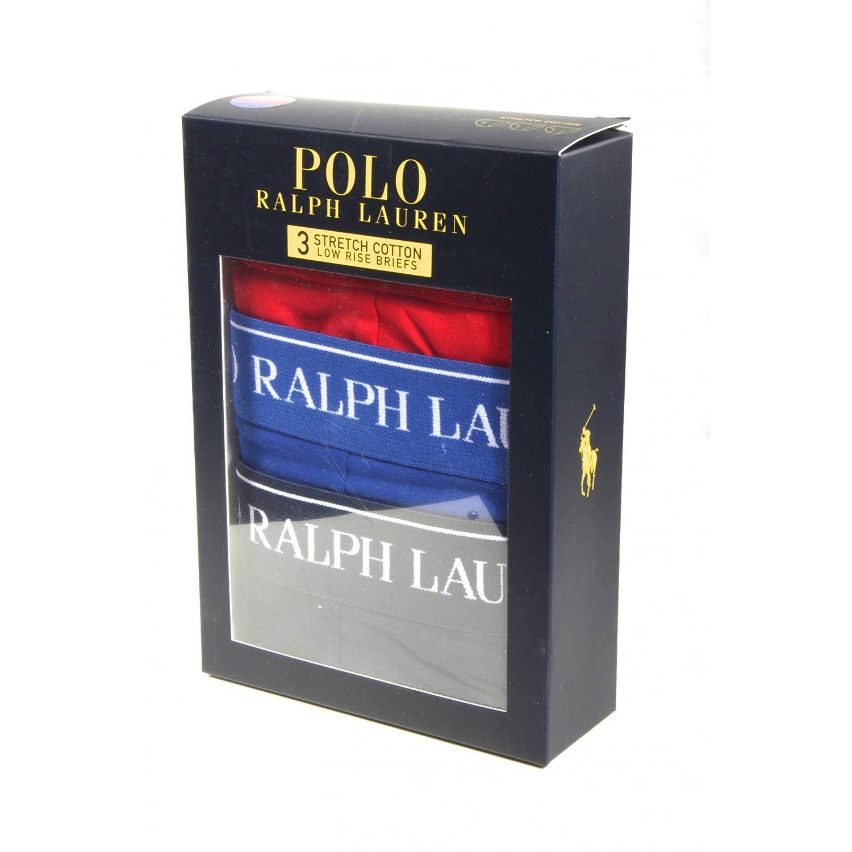 Polo Ralph Lauren Calzoncillos para Hombres Paquete de 3, algodón elástico - Azul Marino/Azul/Rojo