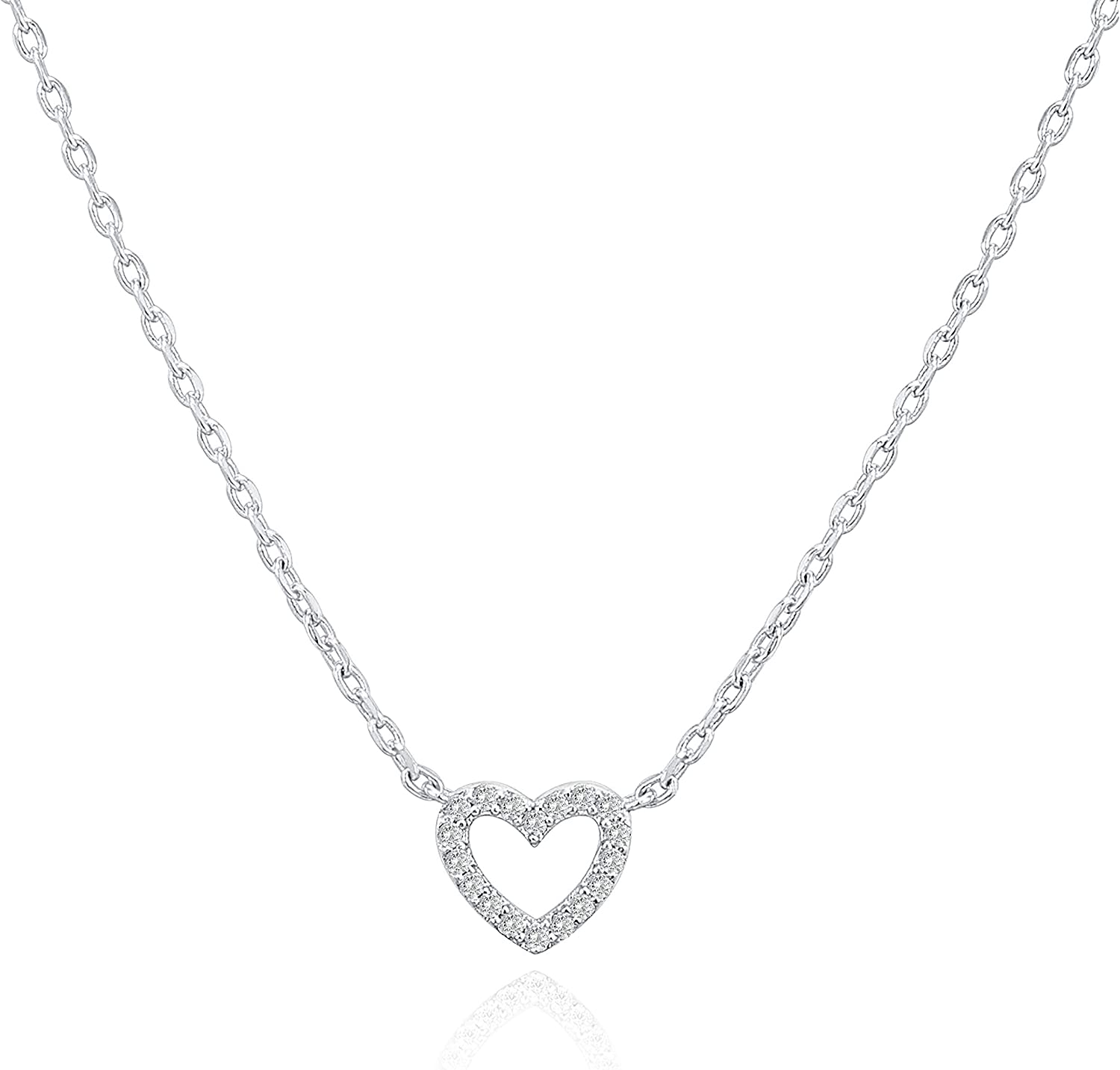 PAVOI 14K Gold Plated Heart Pendant   Layered Necklaces   Gold Necklaces for Women   18