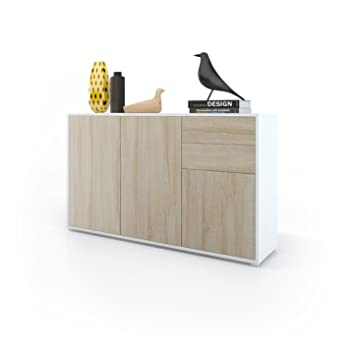 Vladon Kommode Sideboard Ben V3 Korpus In Weiss Matt Fronten In