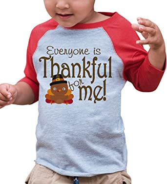7 ate 9 Apparel Baby Boys Little Turkey Thanksgiving Red Raglan