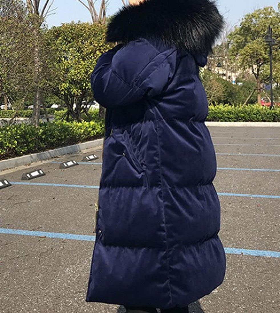 ColourfulWomen Colourful Womens Solid Mid-Long Velvet Thicken Hooded Padded Coat Outwear
