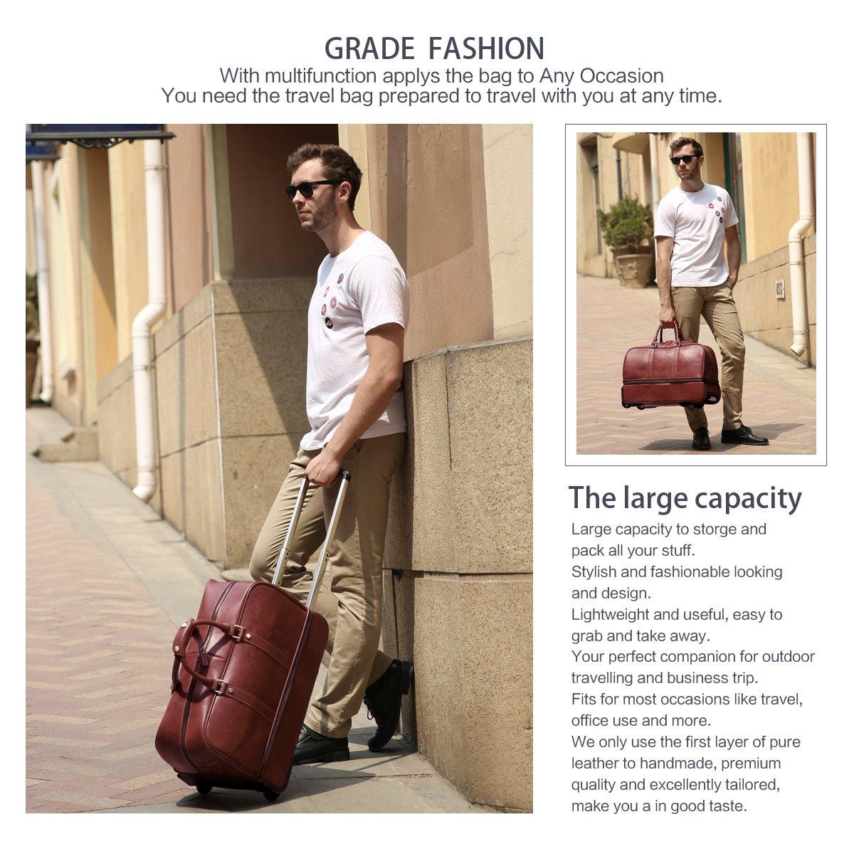 Leathario Leather Luggage travel duffle bag weekend overnight bag (Burgendy) by Leathario (Image #7)