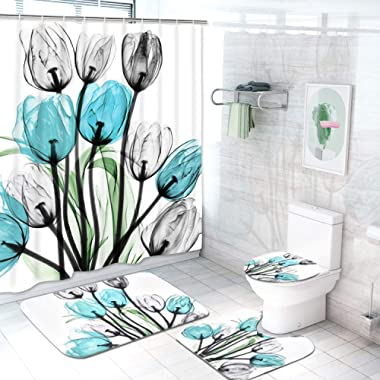 4 Pcs Tulip Flowers Shower Curtain Sets with Non-Slip Rugs, Toilet Lid Cover and Bath Mat, Colorful Tulip Flowers Sshower Curtain with 12 Hooks, Durable Waterproof Shower Curtain Set