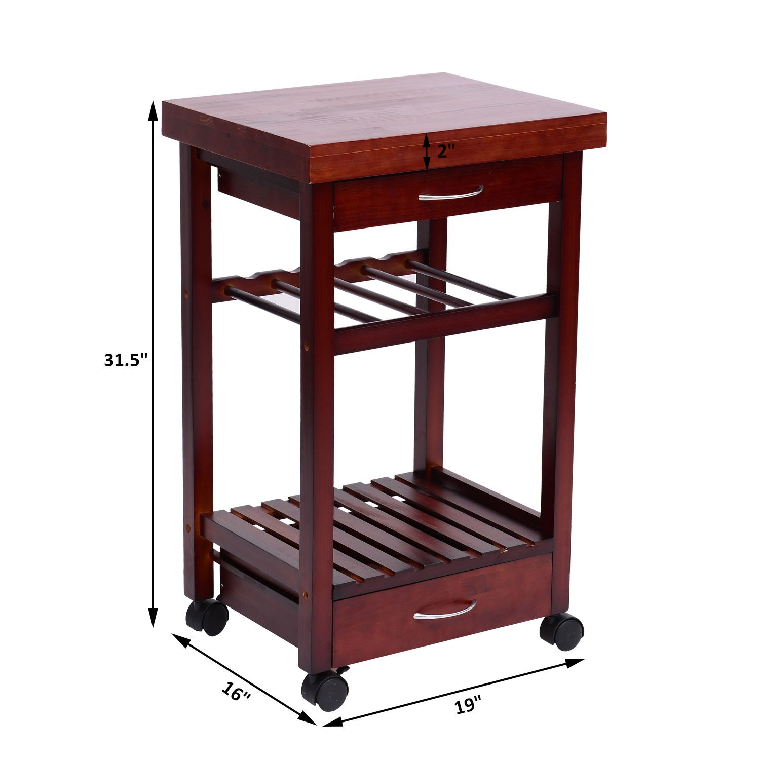 Festnight Kitchen Trolley Dining Storage Cart with Drawers and Wine Rack,Vintage Style by Festnight (Image #6)