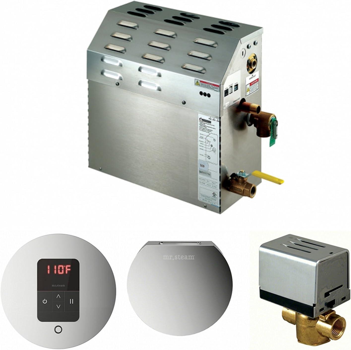 Mr Steam Bath Generators Steam Room iTempo Round Control in Polished Chrome