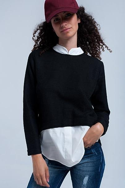 online store e5e42 cca4e Q2 Donna Maglione nero combinato con camicia - S - nero ...