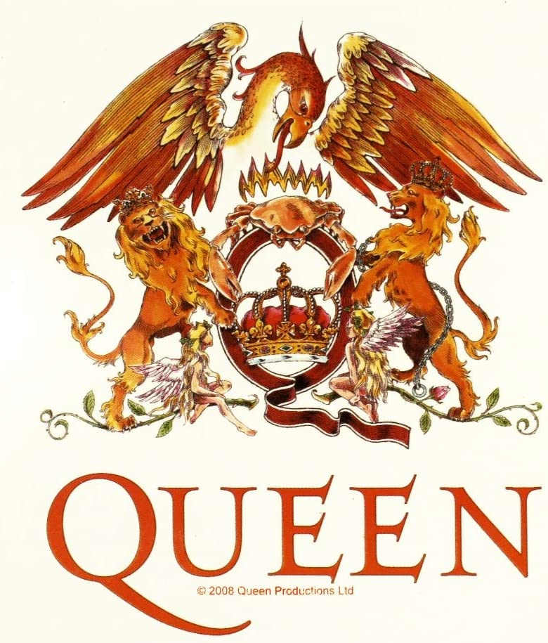 Sticker Queen White Heraldry Crest Coat of Arms Logo Rock Band Music Decal