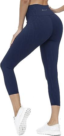 Women's High Waisted Yoga Capris with Pocket Tummy Control Workout Shapewear S-XXL