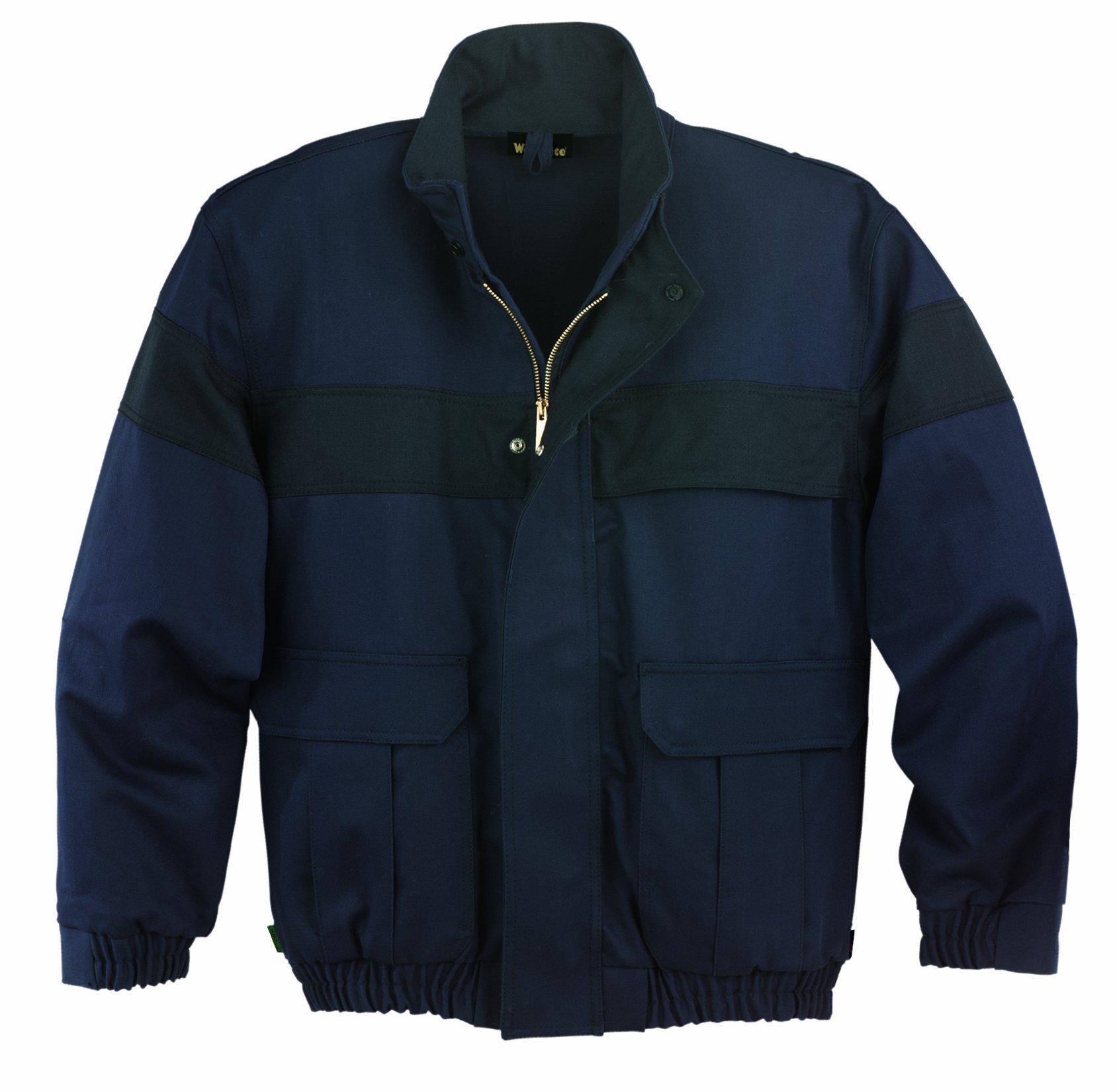 Workrite FR Flame Resistant 9.5 oz UltraSoft Bomber Jacket, Elastic Cuff, Medium, Regular Length, Navy Blue