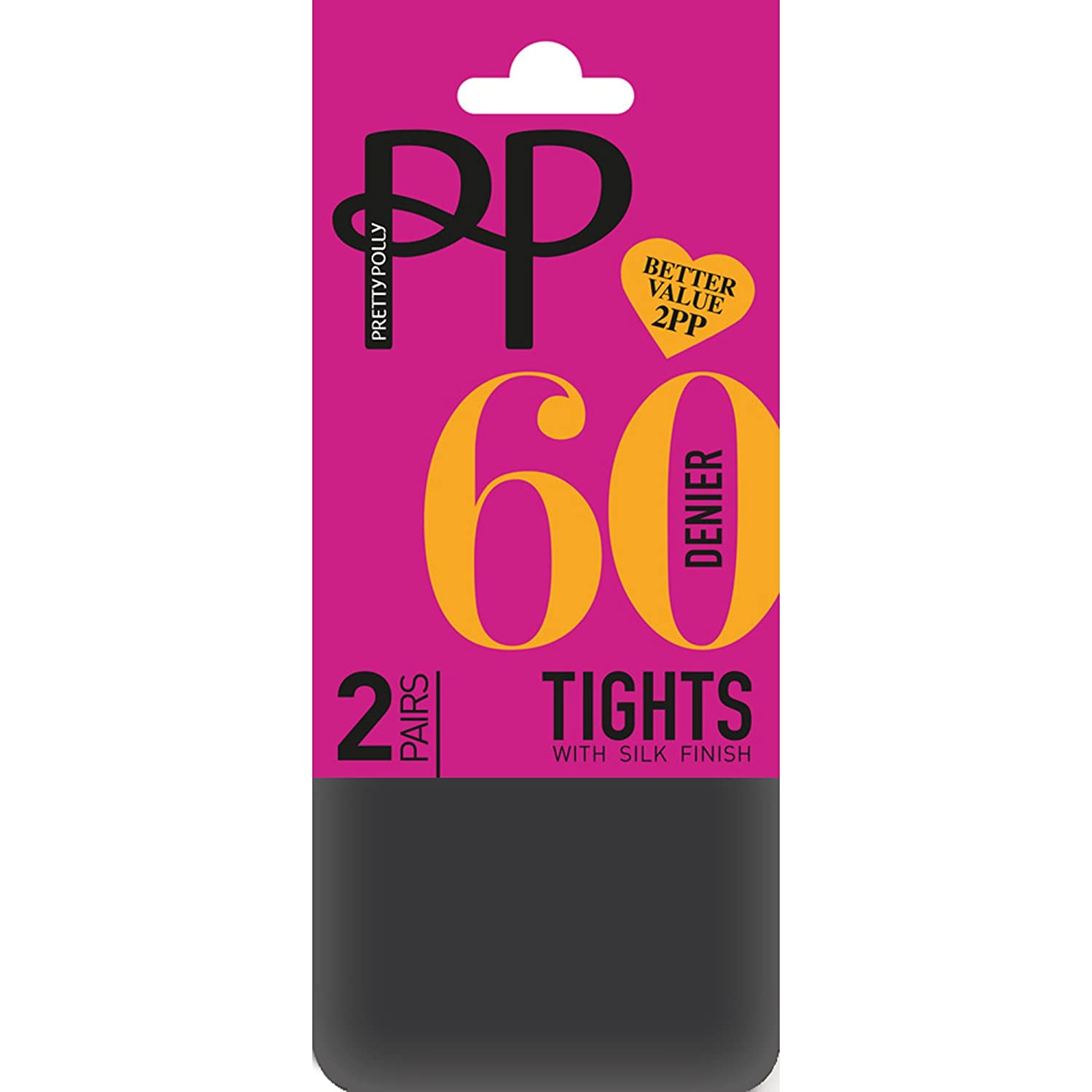 Pretty Polly 60 Denier Opaque Tights with Silk Finish (2 Pair Pack)
