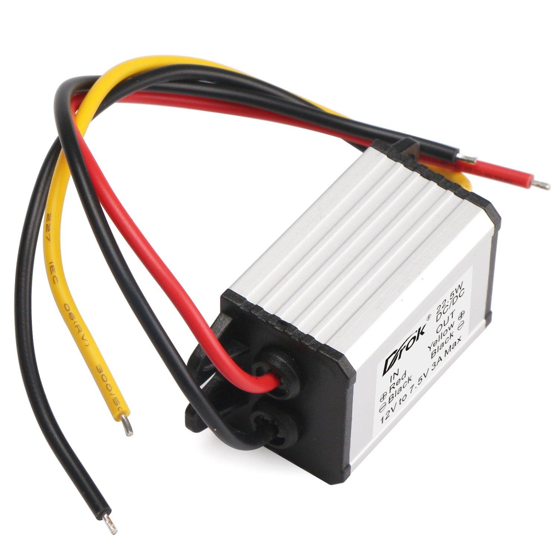 DROK Buck Voltage Reducer Converter 12V to 7.5V 3A/22W Step-down Power Module DC/DC Voltage Transformer Regulator Power Supply Board for LED Display Radio by DROK (Image #2)