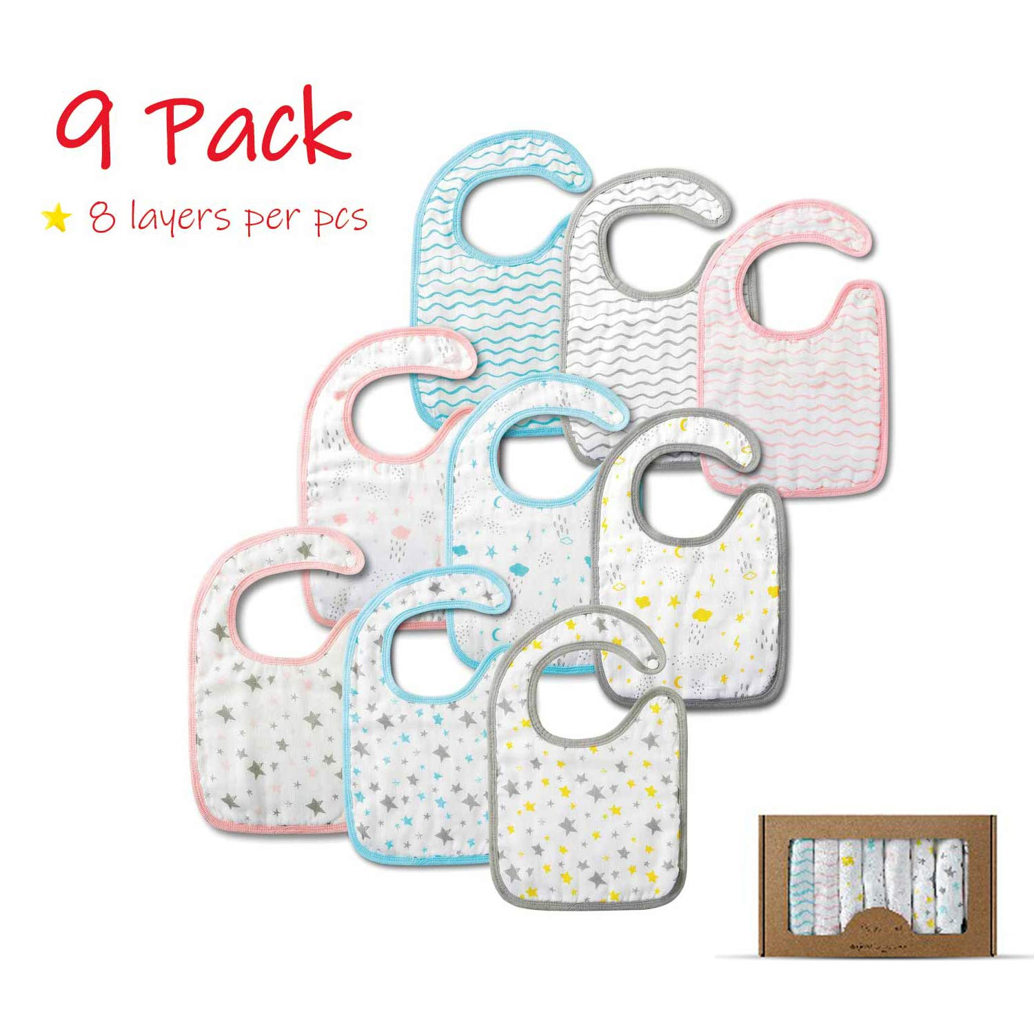 8 Layers 100/% Cotton Muslin Baby Shower Gift Set for Drooling,Sung,Feeding and Teethiper Absorbent Snap Button Bibs for Baby Boys,Girls. Little Grape Land 9 Pack Extra Large Muslin Baby Bib
