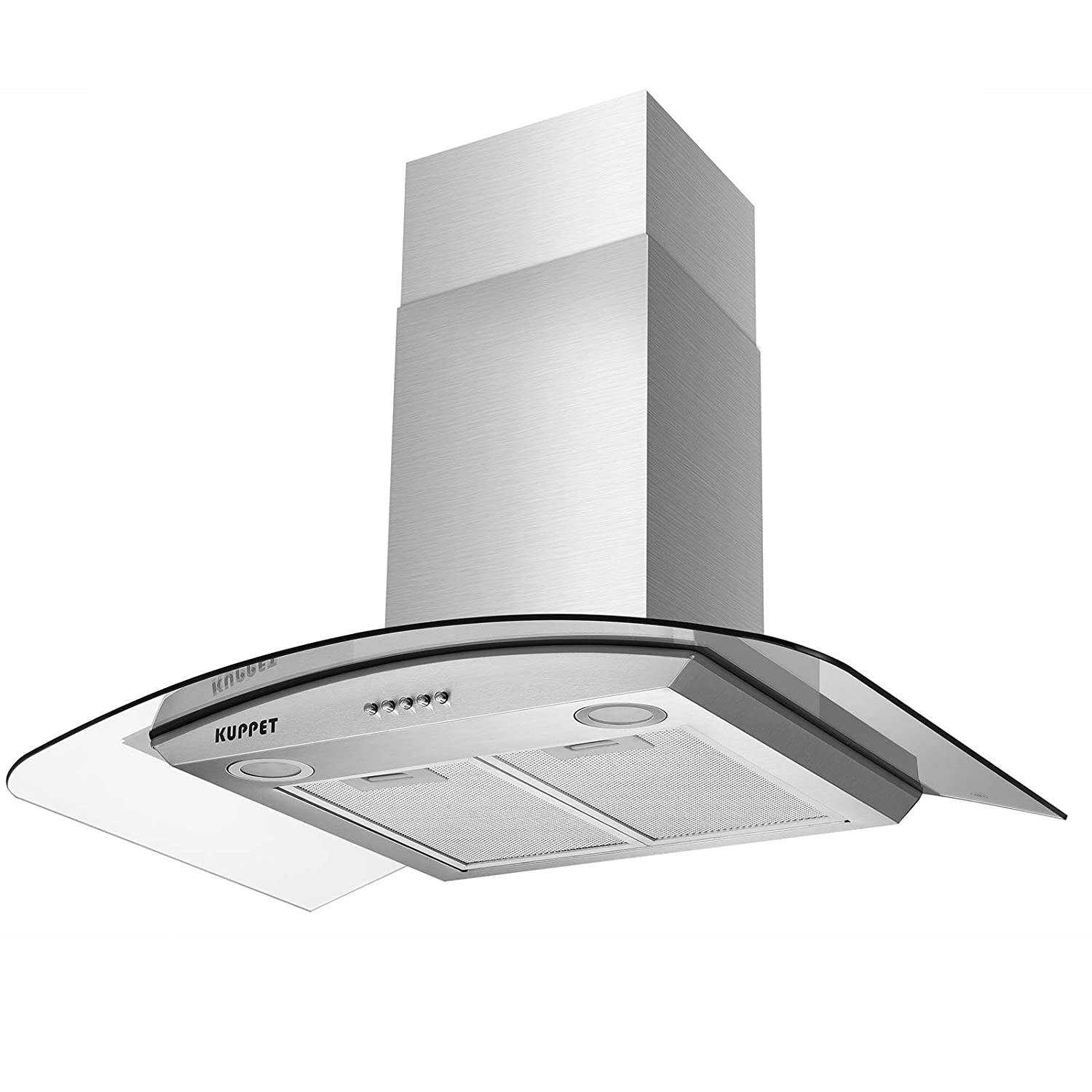 KUPPET NY-750Q Kitchen Bath Collection 30' Wall Mount Range Hood, Tempered Glass with High-End LED Lights, Aluminum Mesh Filter, Push Button 3 Speed Controls, Silver Stainless Steel H211-15