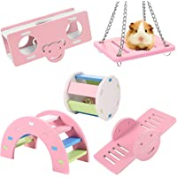 Tdauke 5 Pcs Lovely Hamster Play Toys, Rainbow Bridge & Seesaw & Swing, Climb and Play Toy, Hamster Chew Toys DIY…