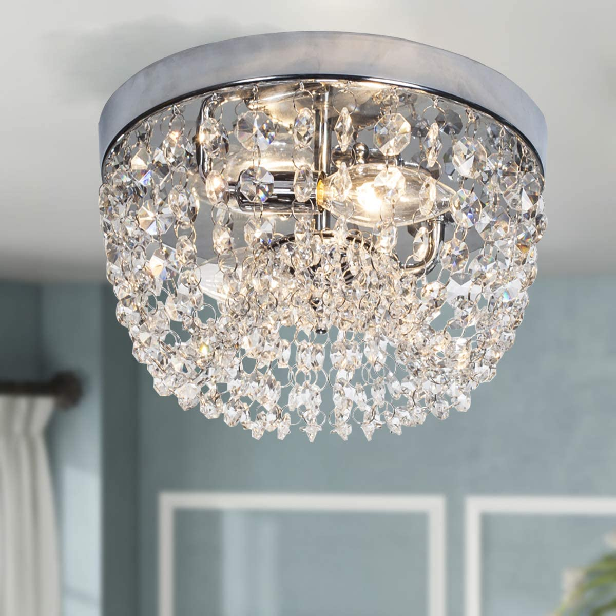 GLANZHAUS Small Style 9.84 Chrome Finish Clear Cystal Chandelier, 2-Light Flush Mount Ceiling Light For Hallway Bar Kitchen Dining Room Kids Room