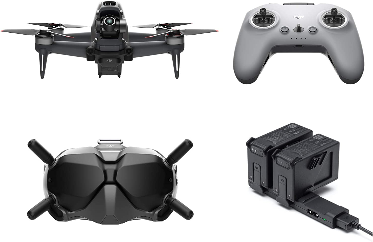 DJI FPV Combo w/Fly More Kit (2 More Batteries & 1 Charging hub) - First-Person View Drone Quadcopter UAV w/ 4K Camera, Flight Mode, Super-Wide 150° FOV, HD Low-Latency Transmission, E-Brake & Hover