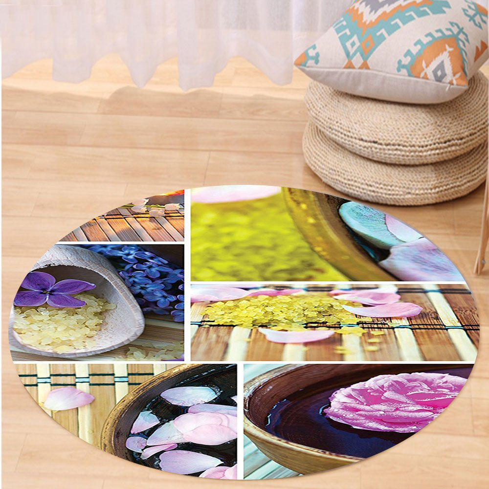 VROSELV Custom carpetHome Decor Spa Organic Cosmetics Theme Wooden Bowl Petals Lavender Candle Pebbles Therapy Oils Image Bedroom Living Room Dorm Decor Purple Brown Round 72 inches