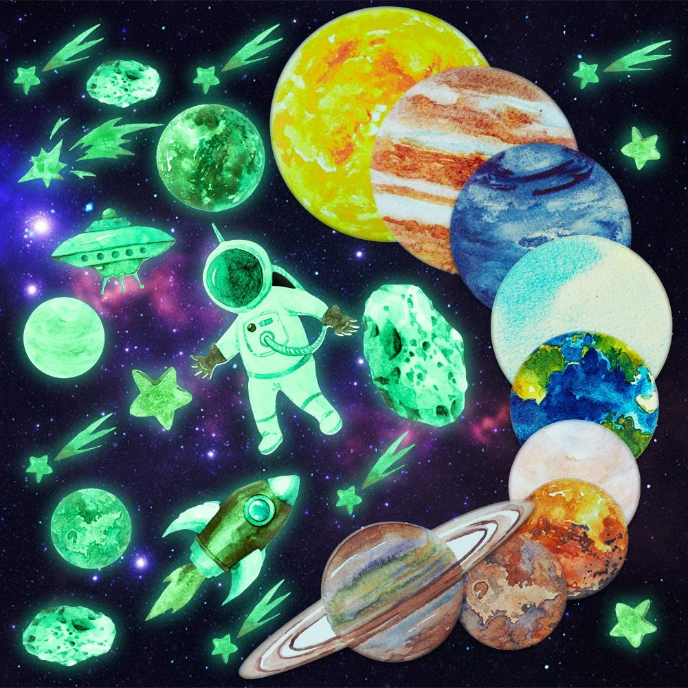 HONGTEYA Glow in The Dark Stars and Planets for Ceiling Bright Solar System Wall Decals Glow Stars Stickers for Kids Galaxy Room Decor for Boys and Girls Space Astronaut Rocket Meteor Decorations