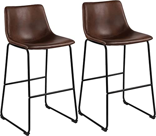 LSSBOUGHT 29 Inches Vintage Bar Height Bar Stools Microfiber Kitchen Barstool