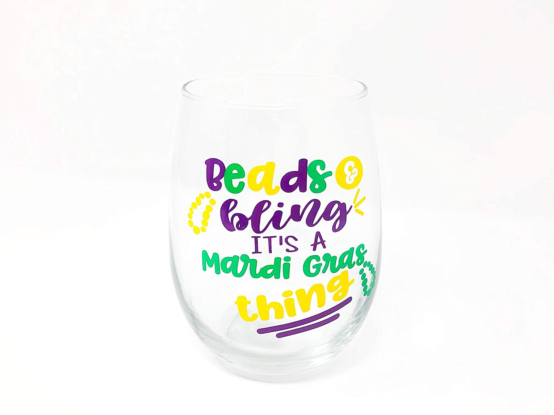 Large Mardi Gras Party Glass Mardi Gras Squad Stemless Wine Glass