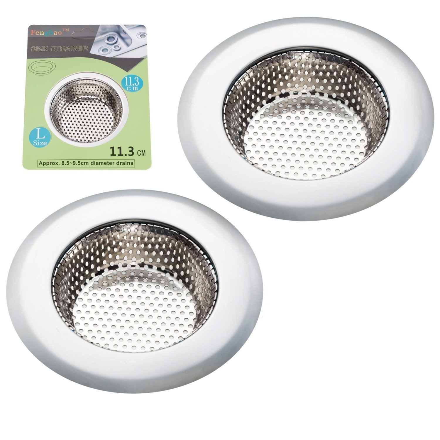 "Fengbao 2PCS Kitchen Sink Strainer - Stainless Steel, Large Wide Rim 4.5"" Diameter"