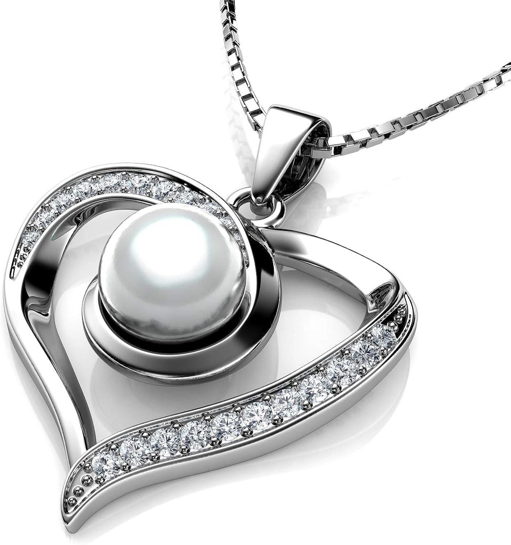 DEPHINI - Collar de perlas auténticas con colgante de perla con circonita cúbica, collar de corazón de plata de ley 925 para mujer con raro chapado en rodio