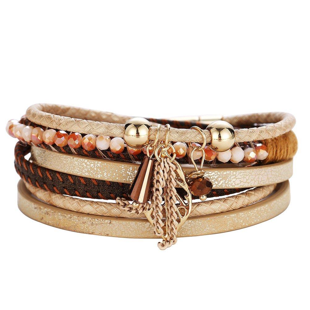Mrsrui Leather Bracelet Magnetic-Clasp Cowhide Braided Multi-layer Wrap Women Bracelet (C)