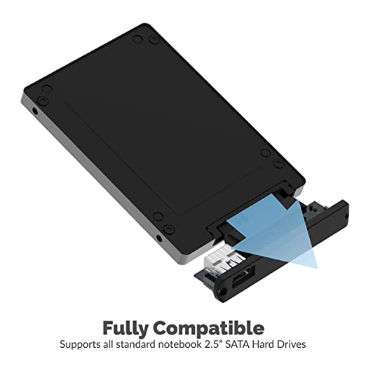 Sabrent Ultra Slim USB 2.0 to 2.5-Inch SATA External Aluminum Hard Drive Enclosure [Black] (EC-UK25)