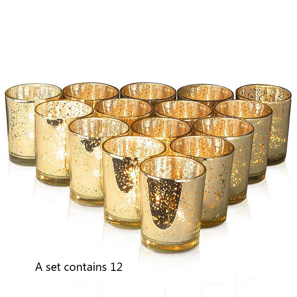 NQXXN Shiny Gold Spots Votive Candle Holders, Set of 12 Elegant Glass Votives Candle Holder, Adds The Perfect Ambience to Your Wedding/Home Decor by NQXXN