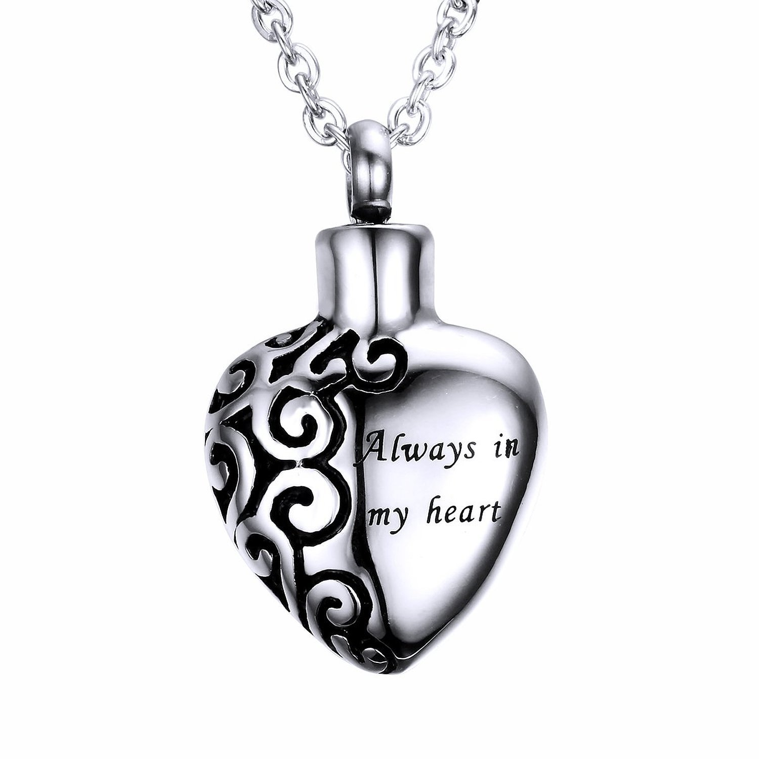 Blowin Stainless Steel ''Always in my heart'' Urn Pendant Memorial Ash Keepsake Cremation Heart Necklace, 22 Inch Chain