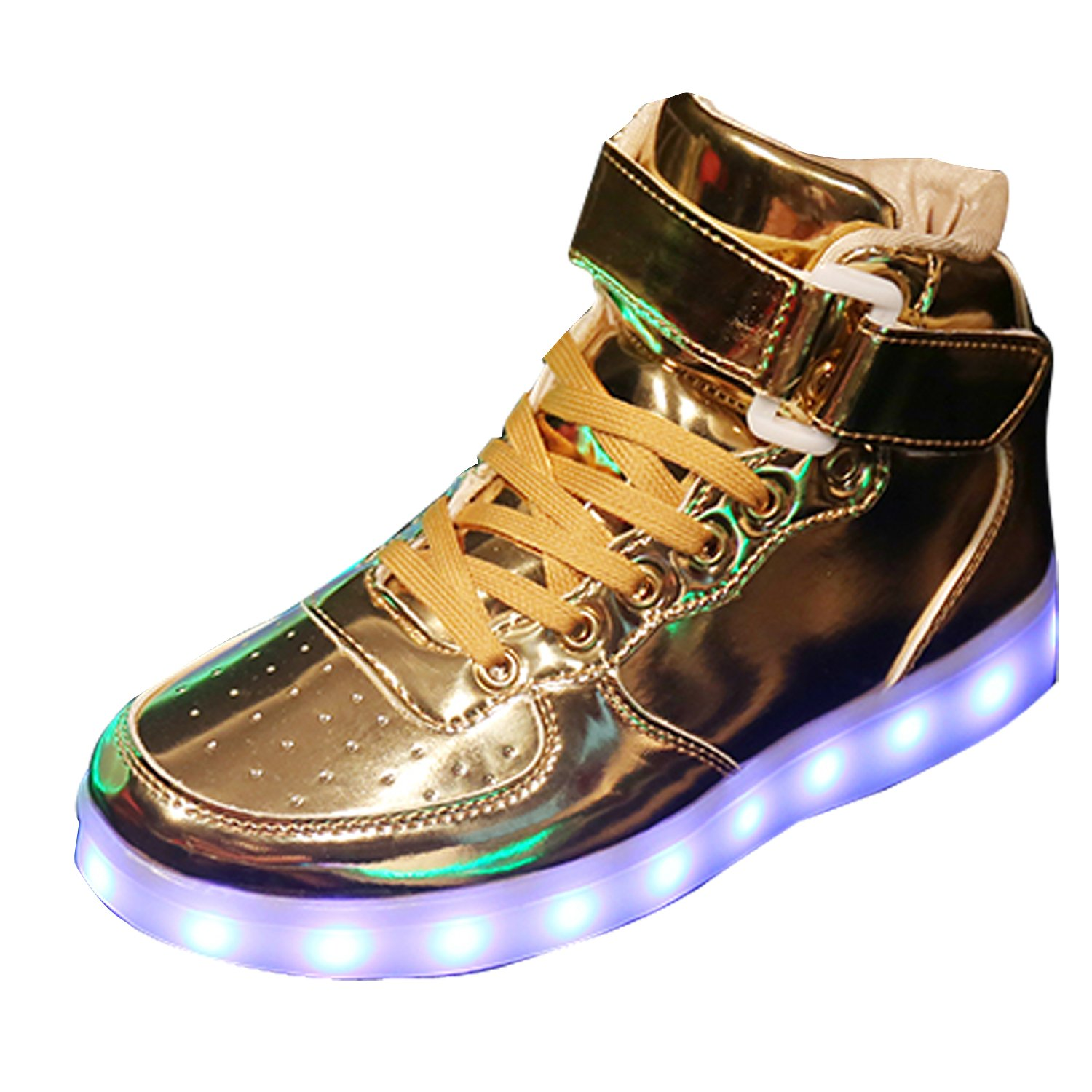 Gaorui New Women LED Light Luminous Sneaker High Top Lovers Athletic Shoes USB Charge B01LA5TJNW 6.5 B(M) US|Gold