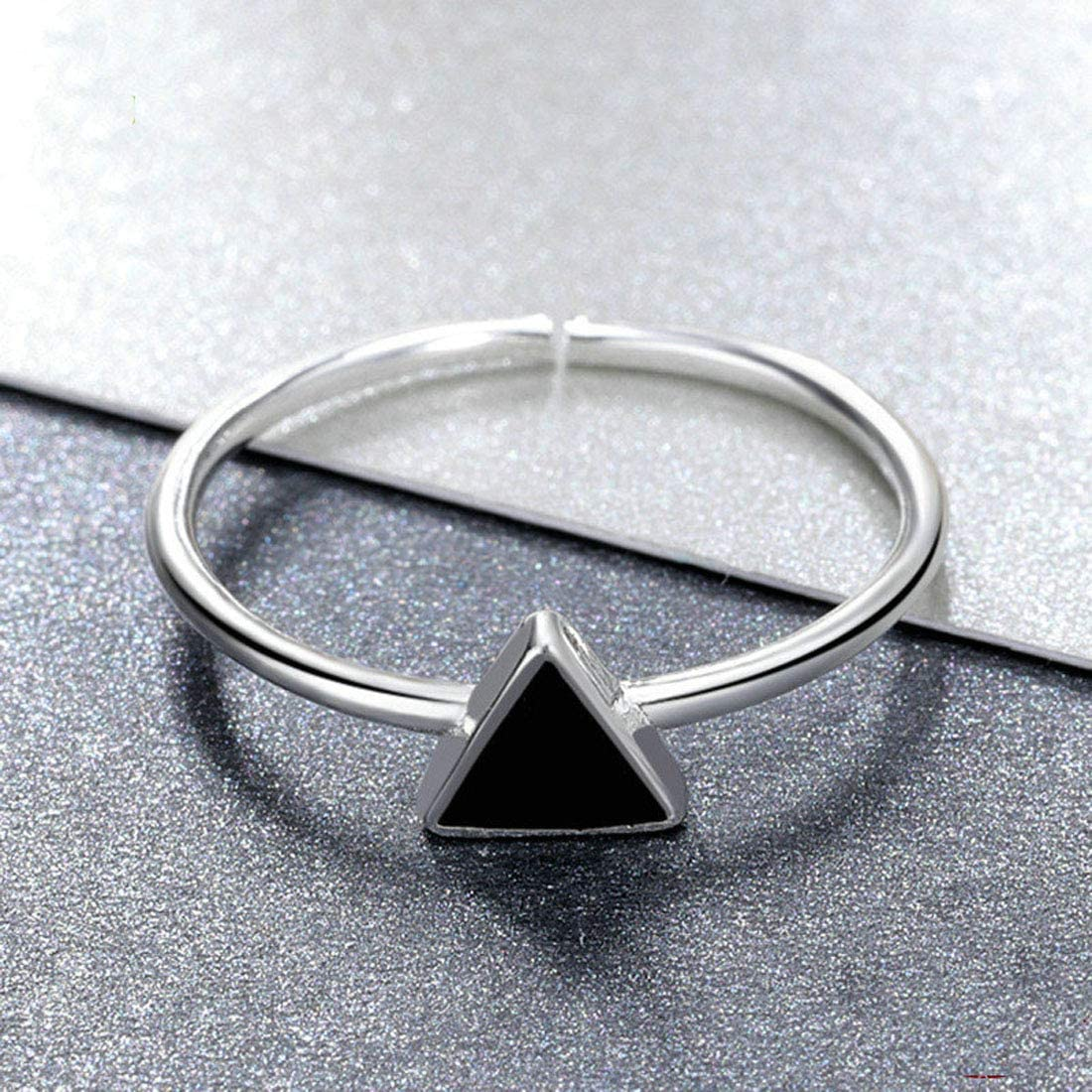 Amaer 925 Sterling Silver Geometry Open Ring for Women Teen Girl Simple Ring