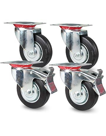 4x Bockrolle Rolle Möbelrolle Gummi TPR 50mm max 35kg   Laufrolle Transportrolle