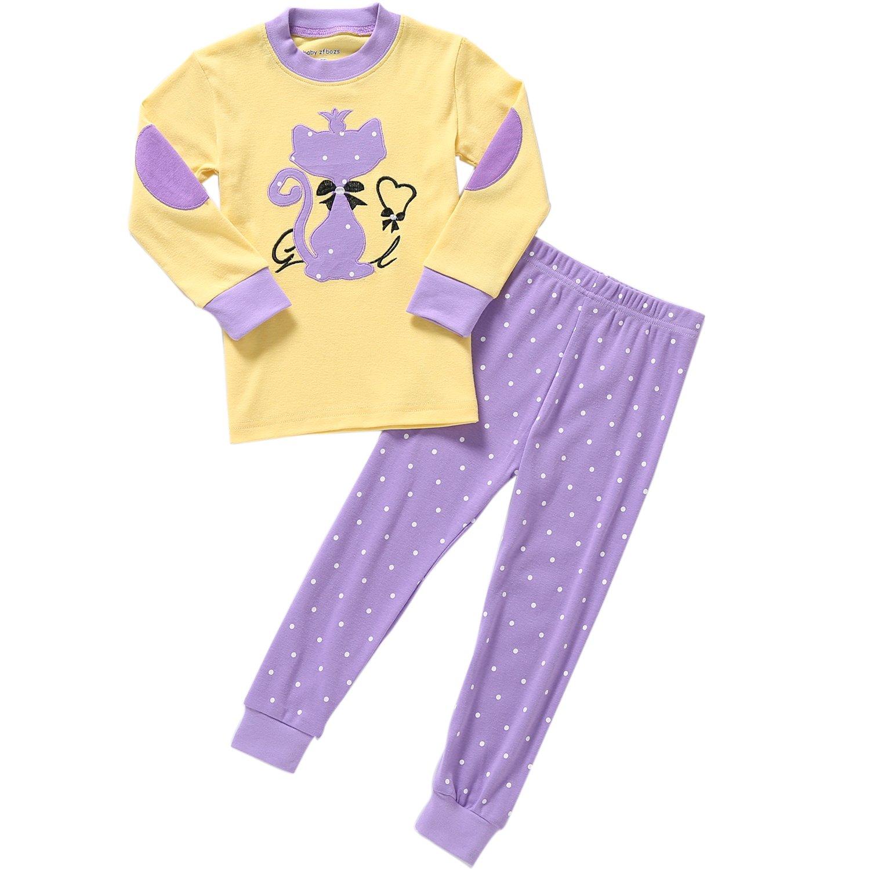 Pajamas for Girls Long Sleeve Cotton PJs Toddler Kids Sleepwear 2 Piece Set Size 7