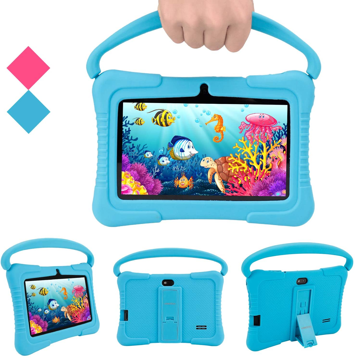 Android Tablets PC, Veidoo 7 inch Kids Tablet with 1GB Ram 16GB Storage, Safety Eye Protection IPS Screen, Premium Parent Control Pre-Installed Educational APP, Best Gift for Children (Blue)