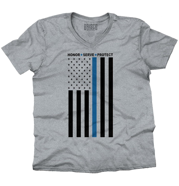 Blue Lives Matter Honor Support Thin Blue American Flag Up V-Neck T-Shirt