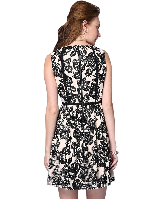 Newland Women's Round Neck Short Sleeve Print Casual Dress US 12