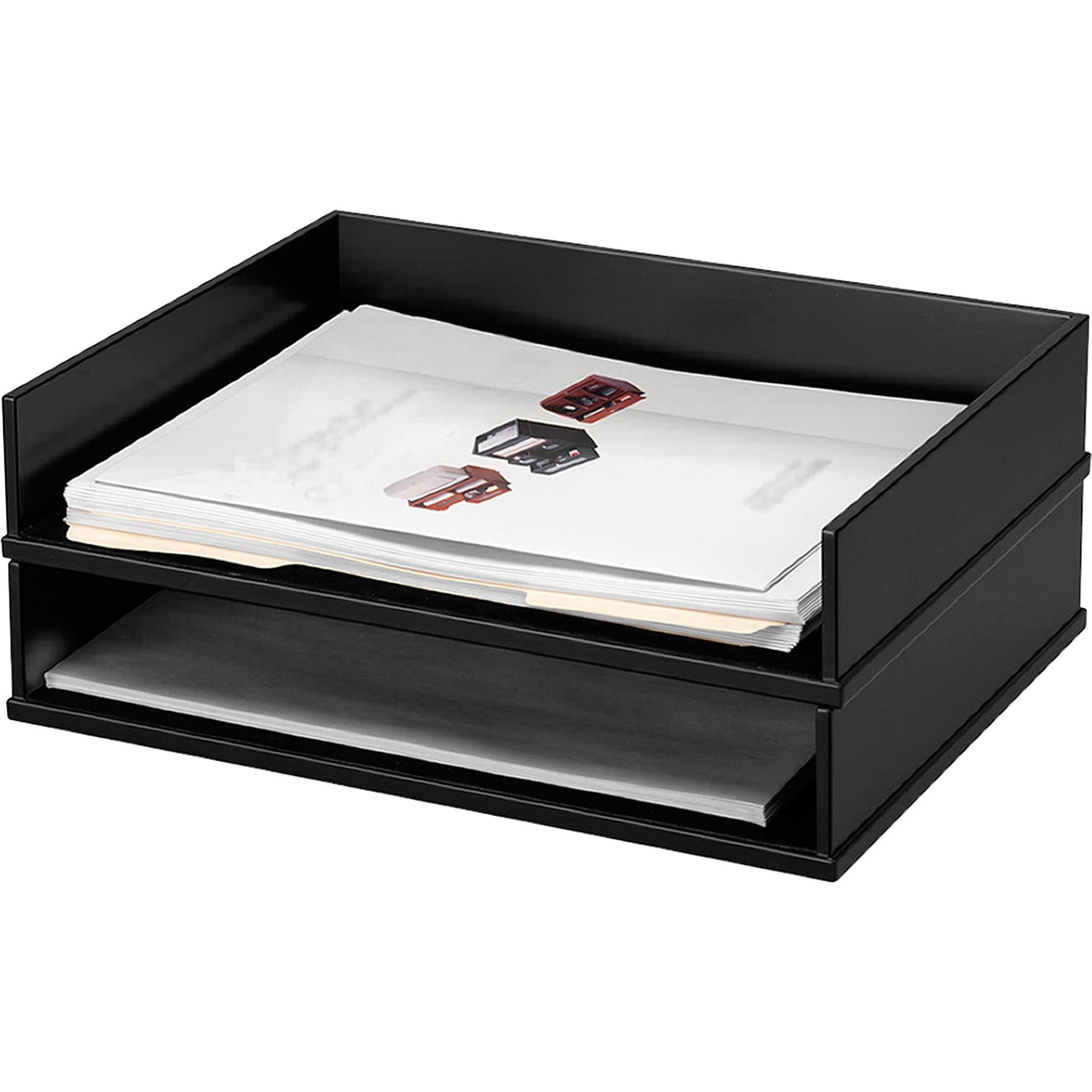 VCT11545 - Victor Midnight Black Stacking Letter Tray