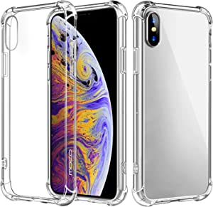 MoKo Cover Compatible for iPhone Xs Case/iPhone X Case, Crystal Clear Reinforced Corners TPU Bumper and Anti-Scratch Hard Cover Fit with Apple iPhone Xs 2018 / iPhone X 2017 5.8 Inch - Crystal Clear