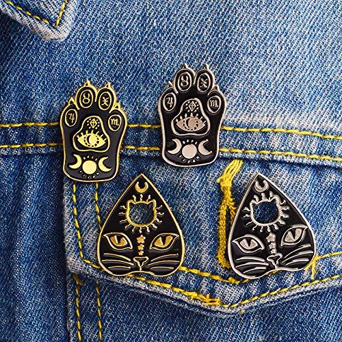 Amazon.com: Juego de 2 broches de gato negro gótico para ...