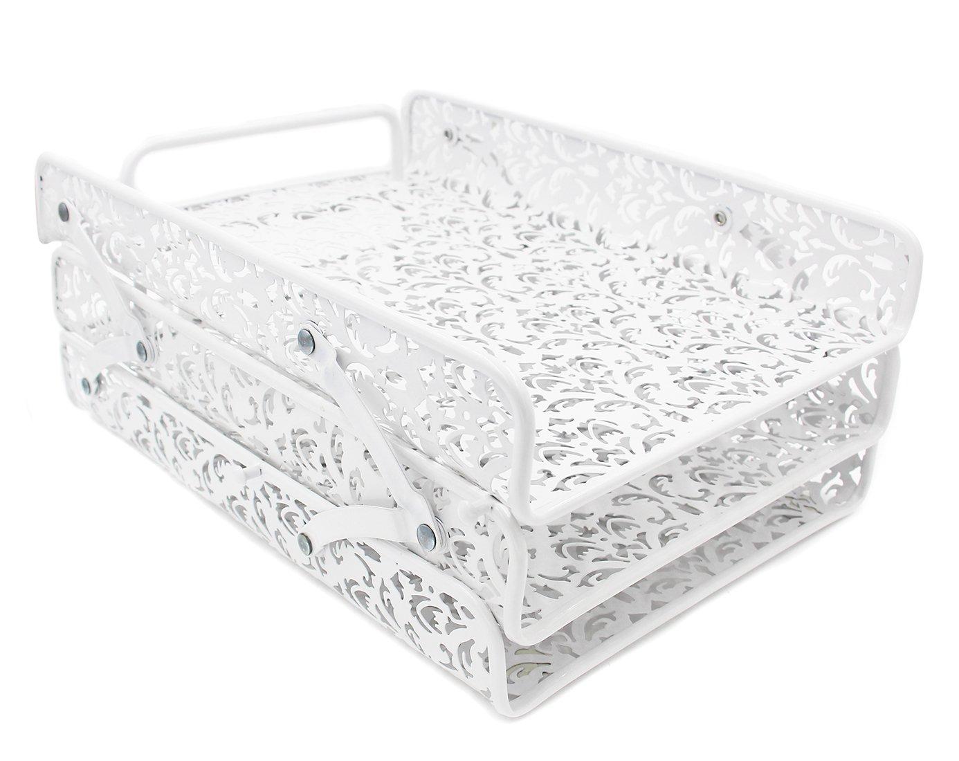 Schreibtisch-Briefablage, mit geschnittenem Blumenmuster, 3 Etagen weiß 3 Etagen weiß Baike