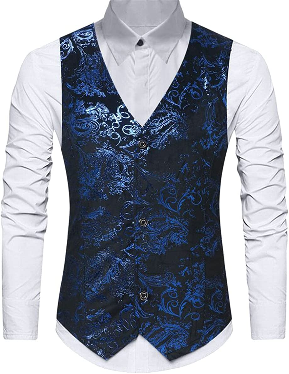 M/&S/&W Men Floral Print Single Breasted V Neck Sleeveless Classic Slim Suit Vests