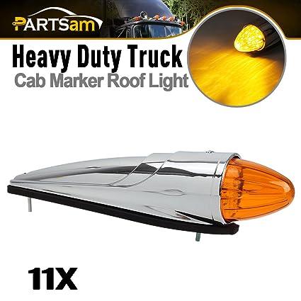 Amazon com: Partsam 11x Amber 17LED Torpedo Chrome Cab Marker