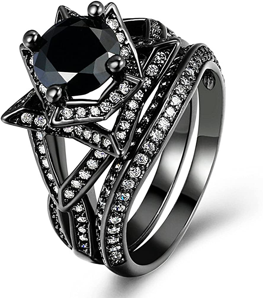 Amazon Com Zhenyul Women Retro Gothic Black Gold Ring Round Cut