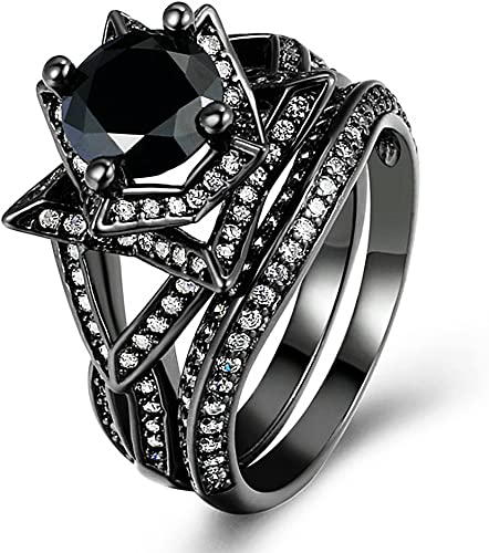 Amazon Com Zhenyul Women Retro Gothic Black Gold Ring Round Cut