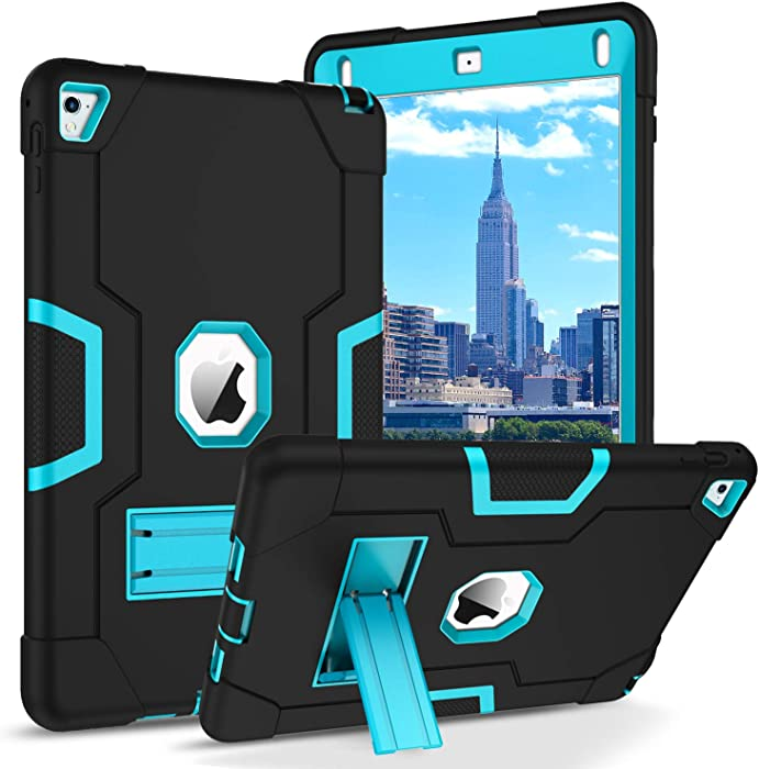 BENTOBEN iPad Air 2 Case, iPad Pro 9.7 2016 Case, 3 Layers Hybrid Heavy Duty Rugged Shockproof Kickstand Sturdy Protective Tablet Cases Cover for Apple iPad Air 2 / iPad Pro 9.7 Inch, Blue/Black