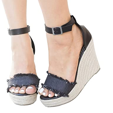 f6ccbd3efba76 Image Unavailable. Image not available for. Color: Women Sandals Wedges  Boho Braided Tassel Open Toe Ankle Strap Casual Summer High Heel Wedge  Sandal