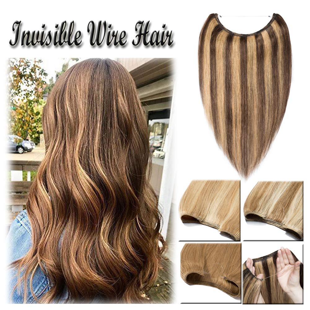 16-22inch Hidden Wire Hair Extensions Highlighted Human Hair Crown in Hairpiece Secret Translucent Fish Line No Clip Miracle Headband - 22