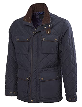 VEDONEIRE Mens Quilted Jacket (3037) NAVY with leather trim quilt ... : quilted jacket navy - Adamdwight.com