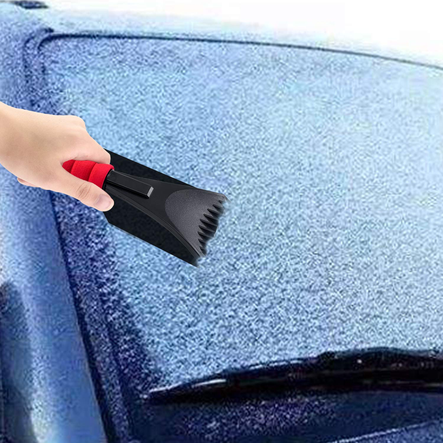 Black 2pcs Red Ansblue Snow Ice Scraper with Foam Handle,Snow Ice Scraper Removal for Car,Snow Scraper Tool for Car Windshield and Window